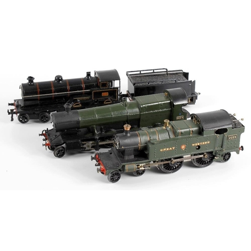 569 - A Bing 0 Gauge clockwork model railway 4-4-0 'George the Fifth' locomotive and tender (repainted), a...