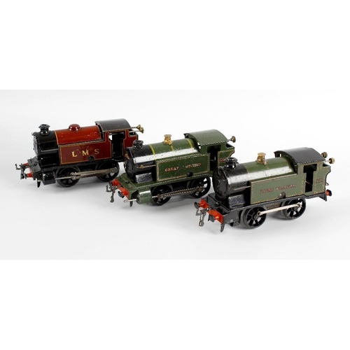 570 - A Hornby type 101 tinplate bodied clockwork model railway LMS 0-4-0 tank locomotive, together with f...