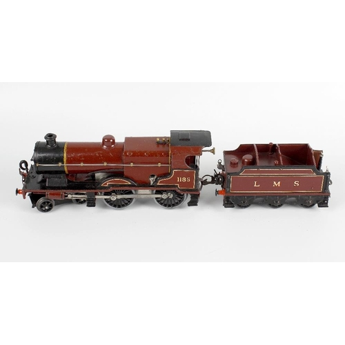 574 - A Hornby 0 gauge tinplate and metal bodied clockwork model railway LMS 4-4-0 compound locomotive and...