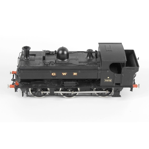 576 - A Sancheng Bachmann brassworks metal bodied electric gauge one model railway, GWR 0-6-0 tank locomot...