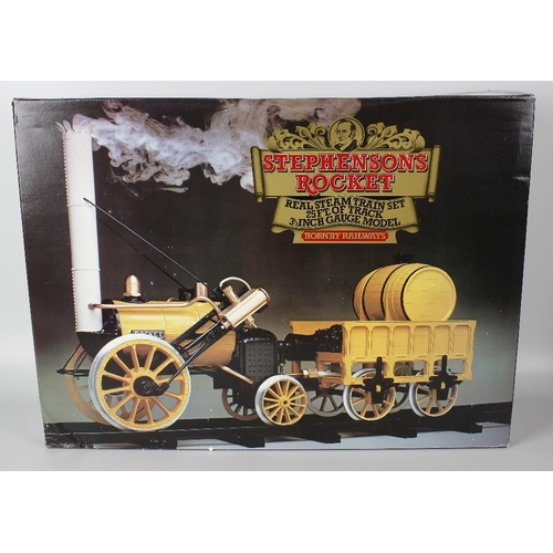590 - A Hornby 3.5 gauge live steam model railway 'Stephensons Rocket' locomotive and tender in original b...