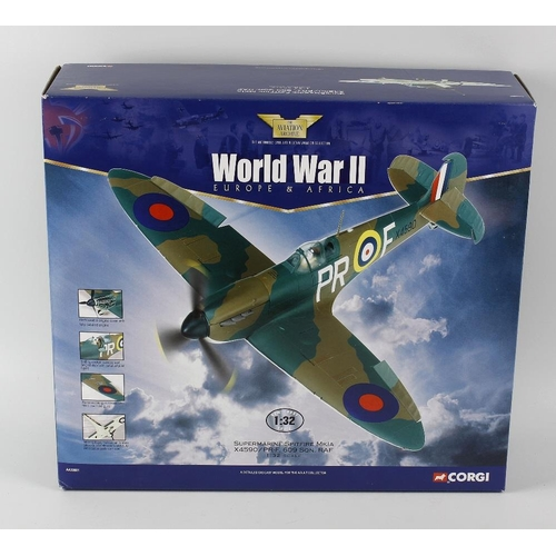 608 - A box containing a Corgi toys aviation archive, 1.32nd scale diecast and plastic model, Supermarine ...