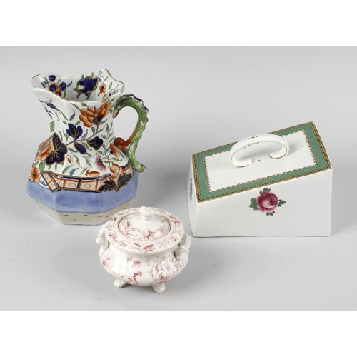 611 - A box containing assorted 19th century ceramics, to include: an Ironstone China octagonal jug of 'Hy...