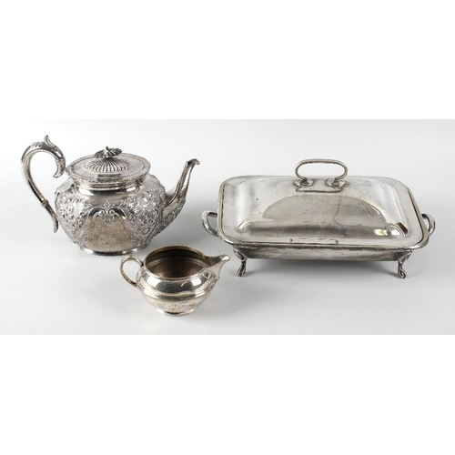 618 - A box containing a selection of silver plated items, to include a teapot of oval form having flower-...