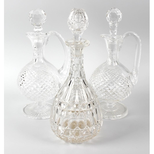633 - Four boxes of glassware, to include assorted shaped cut glass decanters, a large quantity of assorte...