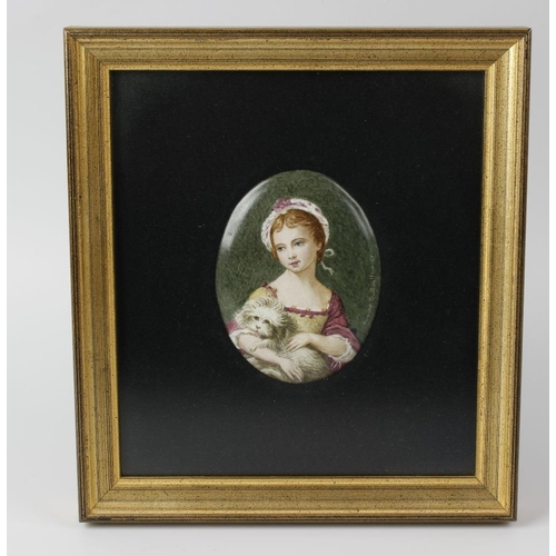 64 - A pair of porcelain oval plaques, one depicting a young female holding a small dog before a green gr...