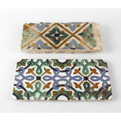 65 - Two terracotta tiles, possibly 17th century, the first with stylised interlocking pattern with folia...