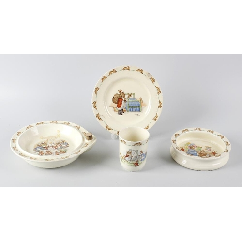 650 - A box containing a selection of Royal Doulton 'Bunnykins' children's feeding plates, bowls and mugs,...