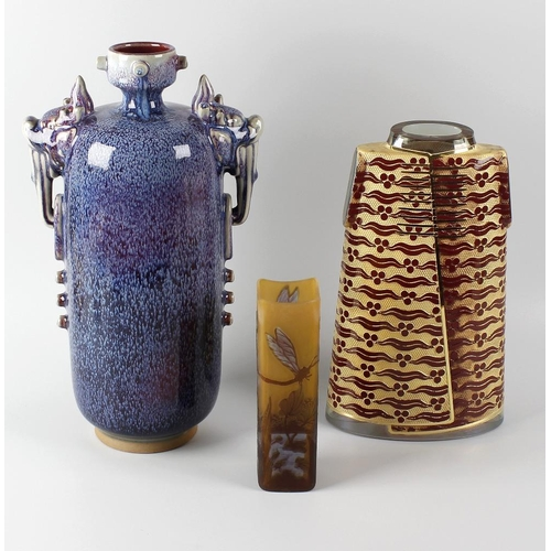 654 - A box containing a mixed group of ceramics, to include a Chinese Junyao-style vase, of cylindrical f...