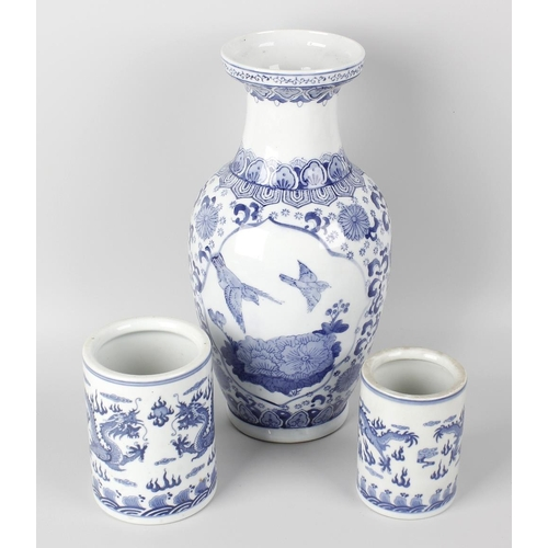656 - A box containing assorted Chinese blue and white porcelain, to include a ginger jar of ovoid form wi...