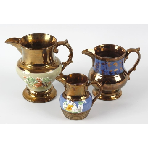 663 - A box containing a good mixed selection of predominantly 19th century lustre glazed pottery jugs and...