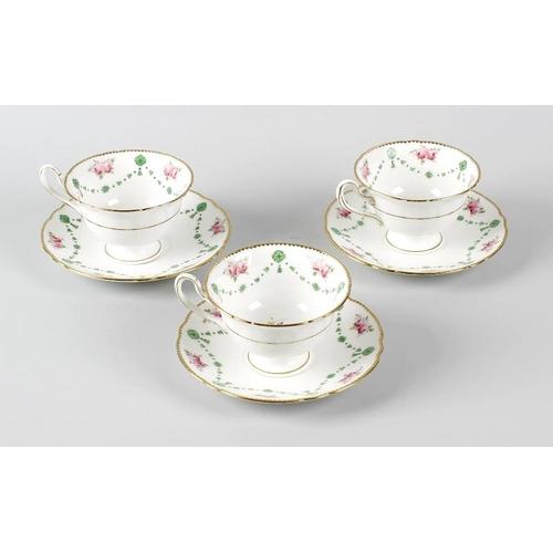 665 - A box containing a Shelley teaset, comprising twelve teacups, twelve saucers, a milk jug, sucrier, t...