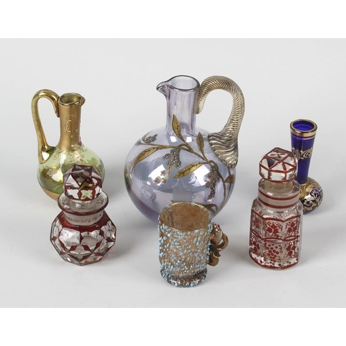 666 - A box containing assorted glassware, to include Venetian and Bohemian miniature vases, ruby flashed ...