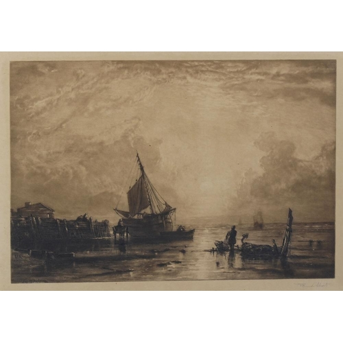 668 - A box containing a mixed group of framed etchings and other prints, to include one example depicting...