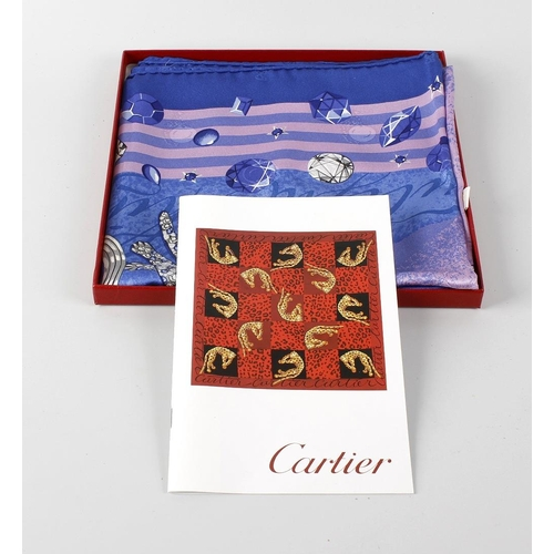 673 - A Cartier ladies printed silk scarf in original box, together with seven china trinket boxes and cov...