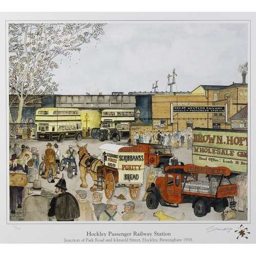 683 - Birmingham interest, a group of five framed and glazed limited edition prints of Hockley, by Ron 'Sm...