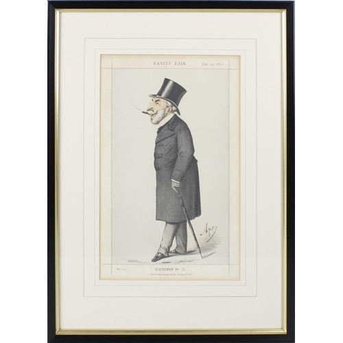 685 - Eight Vanity Fair framed and glazed coloured prints, Sovereigns No 3, No 4 and No 5, Statesmen No 15...