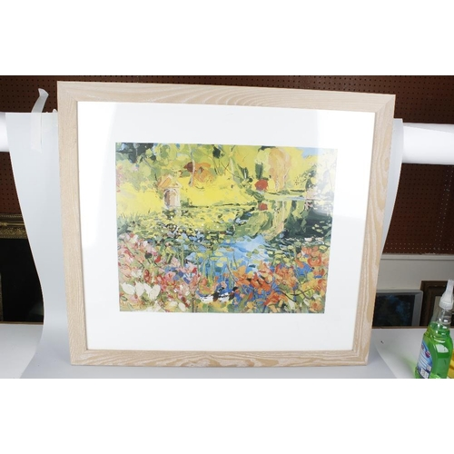 691 - A group of ten framed and glazed prints, each depicting coastal or lakeside scene, largest 26 x 26 (...