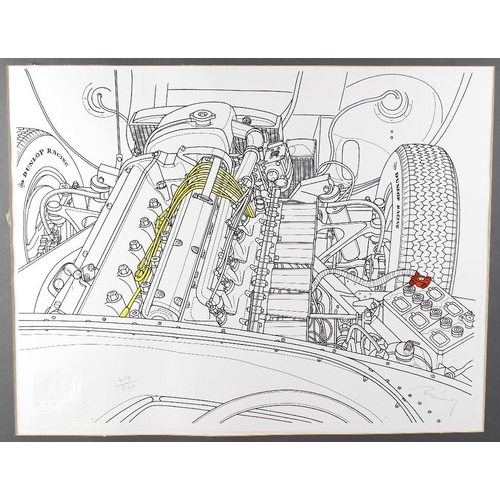 693 - A limited edition Dunlop print by Michel Raimon, signed and numbered 417/500, depicting the engine o...