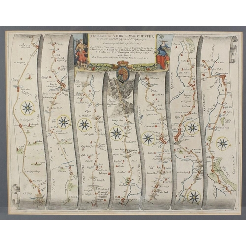 694 - Three framed and glazed hand-coloured engraved maps, the first 'The Road from York to West-Chester',...