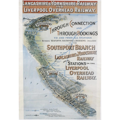 696 - A framed and glazed railway poster, 'Lancashire & Yorkshire Railway and Liverpool Overhead Railway',...