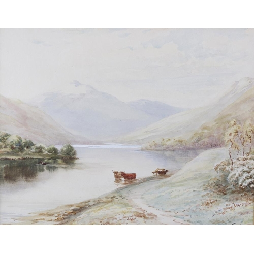 698 - Watercolour on paper, Highland lake scene with cattle, entitled verso Spring Morning Loch Lomond, in...