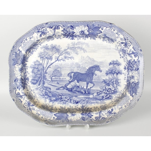 70 - A 19th century blue transfer-printed 'Aesop's Fables' meat plate, 18.5 x 14 (47cm x 35.5cm), togethe...