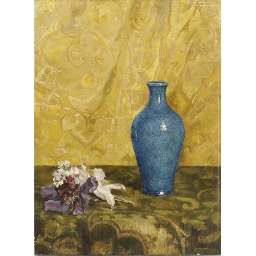 701 - James Herbert Sovell (1861-1935)Still life with vase and flowersOil on canvasSigned lower right16 x ...