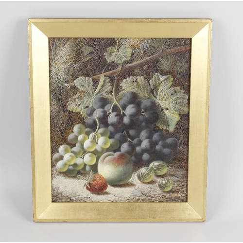 703 - Oliver Clare (1853-1927), Still life with fruit, oil on board, signed lower right hand corner, 11.5 ...