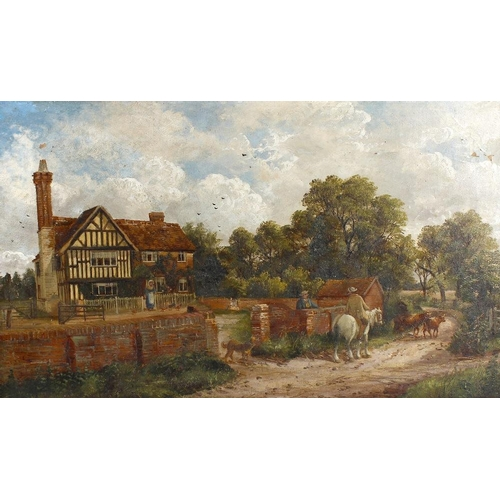 704 - English SchoolLandscape scene, Dovehouse Farm, Dovehouse Lane, SolihullOil on canvasIndistinctly sig...