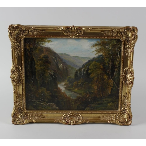 705 - Willis Pryce, oil painting on board, landscape study, titled verso Monsaldale Derbyshire, signed, 7....