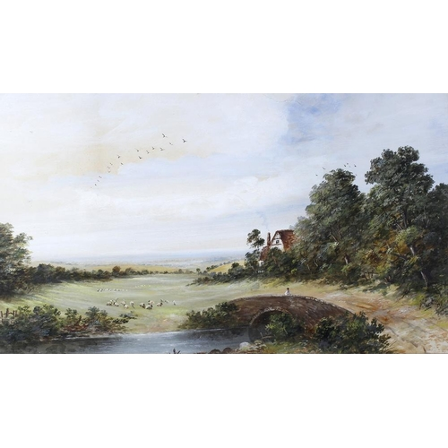708 - Joseph Such (fl. 1866-1875) Rural view of a river and bridge before a cottageOil on paperSigned to l...