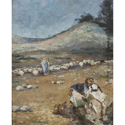 709 - R McCormack A Middle Eastern desert scene with shepherds and flockOil on boardSigned lower left14.5 ...