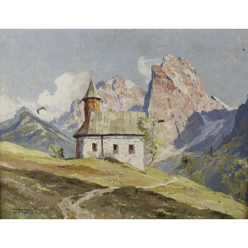710 - An oil on canvas depicting an alpine scene, indistinctly signed (a/f), a coloured print depicting a ...