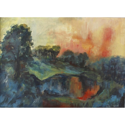 711 - A framed oil on board, landscape at sunset, signed John T Wood to lower right, 19.5 x 26.5 (50cm x 6...