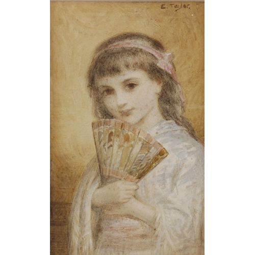 714 - Edward Taylor (1838-1911), watercolour, half length portrait study depicting a young girl holding a ...