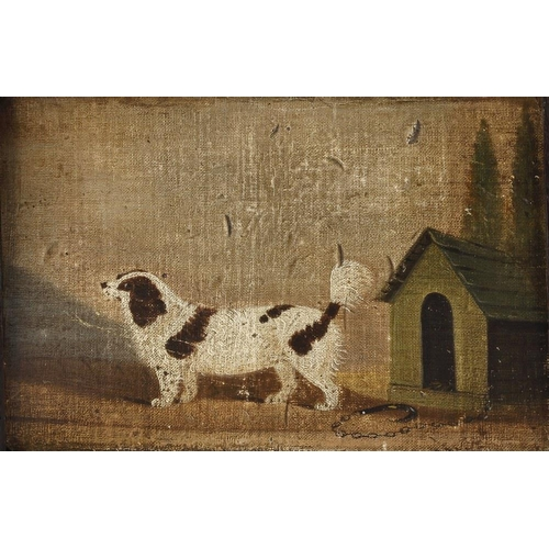715 - 19th century English school, oil painting on canvas laid on board, study of a spaniel near his kenne...
