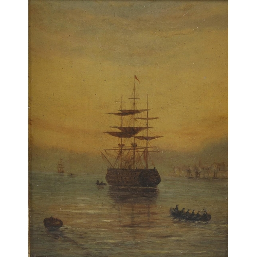 717 - 19th century English school an oil painting on board, marine study of naval warship with members of ...