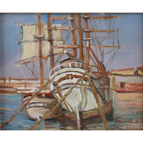 718 - An oil painting on board impressionist study of moored sailing vessels, indistinctly signed, inscrib...