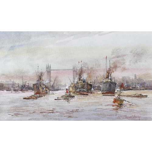 719 - Michael Crawley (modern), a framed and glazed watercolour, titled verso 'River Thames Pool of London...