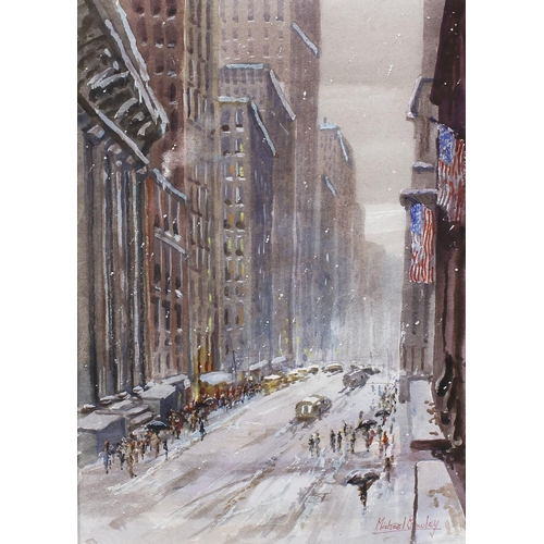 720 - Michael Crawley (modern), a framed and glazed watercolour, titled verso, 'Snowy Day in New York City...