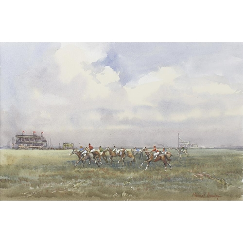 721 - Michael Crawley (modern), a framed and glazed watercolour, titled verso '2,000 Guineas, The Start Ne...