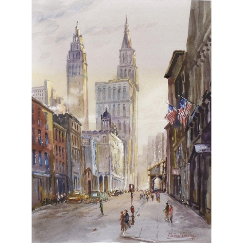 722 - Michael Crawley (modern), a framed and glazed watercolour titled verso 'The Metropolitan Tower, New ...