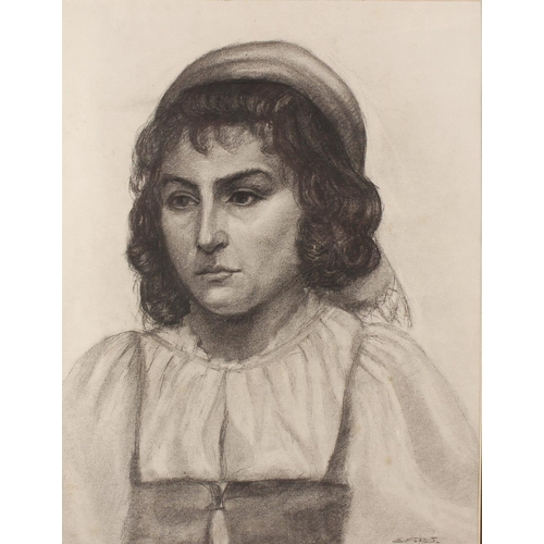 723 - School of Burne Jones, a pencil and charcoal sketch, half length portrait study depicting a young gi...