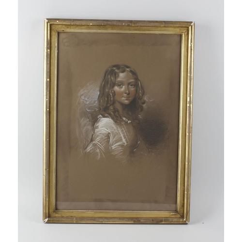 726 - 19th century English school, a pair of framed and glazed pastel portraits, half length studies of yo...