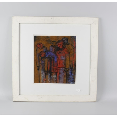 727 - A frame and glazed modern mixed media painting depicting a group of gathered figures, titled verso '...