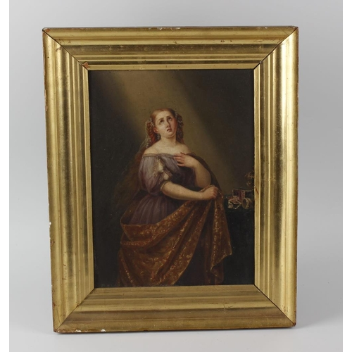 729 - 19th century French school oil on panel, three quarter length portrait study, a young lady draped in...