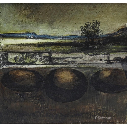 730 - Malcolm Bennett (1942 - ), an oil on panel, titled verso 'Boulder Shore', 6 x 6.25 (15.25cm x 16cm),...