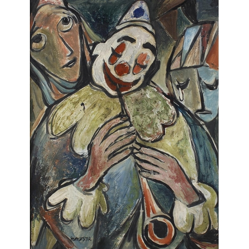 731 - Cyril Hamersma (1919-1994), oil on panel 'The Clowns', signed, 24 x 17.25 (61cm x 43.75cm). <br>Pain...