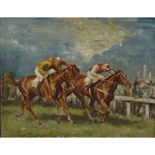 732 - English school an oil on canvas, horse racing scene, the dash to the winning post, 14 x 17.25 (35.5c...